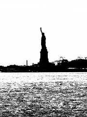 Liberty - A Shadow of Her Former Self (bobbex) Tags: newyork nyc bigapple manhattan statue statueofliberty usa bw blackandwhite blackwhite silhouette shimmer