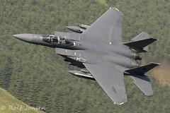91-318 McDonnell Douglas F-15 Strike Eagle US Airforce Mach Loop 11.06-18 (rjonsen) Tags: plane airplane aircraft aviation fighter jet military lfa7 wasle hills snowdonia
