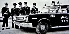 Japanese Police (ManOfYorkshire) Tags: japan japanese police car patrol okinawa island islands assist patrols officers immaculate policecar beacon uniform uniforms blackwhite 1950 8098 plymouth saloon auto automobile