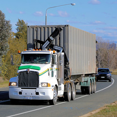 CANBERRA Kenworths (2/2) (Jungle Jack Movements (ferroequinologist)) Tags: kenworth cabover nose canberra giralang act australian capital territory tjs iht irwin hartshorn container side lift lifter forklift tail gator gater hp horsepower big rig haul haulage freight trucker drive transport carry delivery bulk lorry hgv wagon road highway semi trailer deliver cargo interstate articulated vehicle load freighter ship move roll motor engine power teamster truck tractor prime mover diesel injected driver cab cabin loud rumble beast wheel exhaust double b grunt