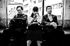Metro Scene... (Victor Borst) Tags: street streetphotography streetlife reallife real realpeople asia asian asians faces face candid travel travelling trip traffic traveling urban urbanroots urbanjungle blackandwhite bw fuji fujifilm metro sub subway portrait mono monotone monochrome mankind city cityscape citylife tokyo japan japanese
