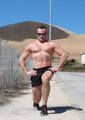 lunges (ddman_70) Tags: shirtless muscle pecs abs shortshorts lunges outdoor workout