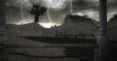 Gazing At The Rain (Loegan Magic) Tags: secondlife sommergewitter storm lightning night sky clouds water deck hills rocks grass dock landscape