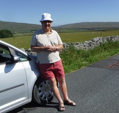 On the road to Hawes - Ribblehead Viaduct (pj's memories) Tags: ribbleheadviaduct shorts sunhat yorkshiredales railway volkswagen