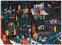 Soga no Adauchi by Utagawa Yoshikazu (1848-1863), a traditional Japanese ukiyo-e style diptych of a scene from a Soga kabuki play, Soga brothers and warriors fighting. Digitally enhanced from our own original edition. (Free Public Domain Illustrations by rawpixel) Tags: otherkeywords actors adauchi ancient arts artwork asia asian battle battlefield brothers conflict costume cultural culture diptych drawing eastern entertainment fighting fineprints historical history homicide illustrations image japan japanese japaneseart kabuki locimage men nobility old paints play prints retro revenge scene soga sogabrothers sogakabuki theater traditional ukiyoe utagawayoshikazu vintage warrior woodblock woodcut