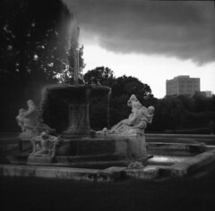 Suddenly the sky became very dark (gmbernstein) Tags: cleveland diana f ilford delta 400 clevelandmuseumofart fountainofthewaters