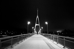 Crossing the bridge (Capichoni) Tags: bw blackwhite blackandwhite bridge lights tartu estonia winter snow ice streetlights street