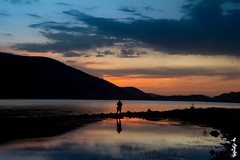 Sunset time & photographer... (N.Batkhurel) Tags: season summer sky sunset clouds landscape lake silhouette naimannuur mongolia övörkhangai ngc nikon nikondf 24120mm water photographer