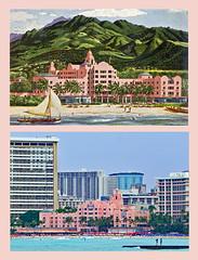 photo + postcard - Royal Hawaiian Hotel Then & Now (Jassy-50) Tags: photo royalhawaiianhotel royalhawaiian hotel pinkpalace waikikibeach waikiki beach honolulu oahu hawaii postcard vintagepostcard thennow gph