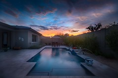 The sunset is always different at my friends house ... (max tuta noronha) Tags: sunset clouds nuvens pordosol solitude solidão calmaria calm calmo piscina pool house casa