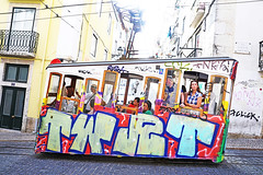 Lisbon (kirstiecat) Tags: lisbon lisboa streetcar portugal portuguese graffiti people wonder light travel violethour magichour strangers streetart cinematic
