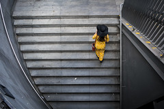 Complimetary (Mads H photography) Tags: streetphoto streetphotography copenhagen candid notposing yellow woman stairs perfect people characters colour colourphotography street streetscenes photo peopleinphoto color colorphotography