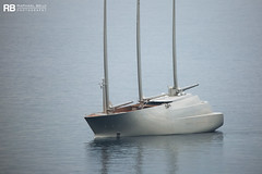 S/Y A - 143m - Nobiskrug (Raphaël Belly Photography) Tags: rb raphaël monaco raphael belly photographie photography yacht boat bateau superyacht my yachts ship ships vessel vessels sea motor mer m meters sailing a sy 143m 143 grey gris grise grigio silver argent starck philippe