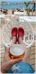 Ibiza, 2018. San Antonio Bay. . . (CWhatPhotos) Tags: cwhatphotos red crocs redcrocs sandals rubber feet chair drink chilling alcohol lager footwear sea water view photographs photograph pics pictures pic picture image images foto fotos photography artistic that have which contain olympus camera holiday holidays hols hol june 2018 ibizan ibiza san antonio bay june2018 torrent beach seaside coast sand port