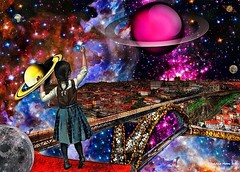 Filling the City of Stars - By SilviAne Moon (Silviane Moon) Tags: children city collage digital digitalart digitalcollage fiction filling futuristic moon planets s6 scifi society6 space stars surreal universe surrealcollage art silvianemoon silvianemoonart digitalpainting photomanipulation saturn surrealism surrealistic