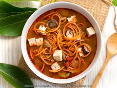 Tom Yam Noodle Soup 2 (Bitter-Sweet-) Tags: vegan food savory spice hotandsour spicy thai tomyum tomkha stew noodles spiralizer spiralized easy onepot entree main dinner lunch vegetarian meatless healthy tofu soy protein fiber glutenfree dairyfree quick