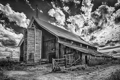 Barn and Silo (D E Pabst Photography) Tags: agriculture neglected abandoned barn decay wooden silo monochrome farm anatone rural blackandwhite asotincounty