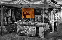 All That Jazz (Bernai Velarde-Light Seeker) Tags: paintings art urban urbanexploration sellingart buyingart bernai velarde tent man woman washington dc usa blackandwhite splashofcolor monochrome