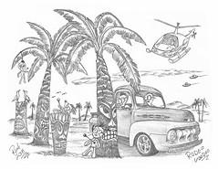 Rodeo Voodoo (rod1691) Tags: myart art sketchbook bw scfi grey concept custom car retro space hotrod drawing pencil h2 hb original story fantasy funny tale automotive illustration greyscale moonpies sketch sexy voodoo