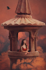 Out of Reach (Ruby Hyde) Tags: girl princess tower pink gold red orange hair dress magic magical fineartphotography fineart conceptual surreal surrealism clouds sky dusk sunset evening dawn light bird