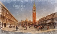 St Marks Square - Venice (Mike Cordey) Tags: venice stmarkssquare piazzasanmarco painterly artistic sketch vignette