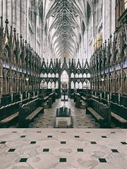 Contrasts (ancientlives) Tags: winchester winchestercathedral cathedral hampshire england uk europe travel trips christian church contrasts interior choir stalls choirstalls june 2018 wednesday spring building anglican cofe