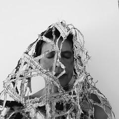 ways of wearing the news (Ines Seidel) Tags: self selfportrait selfie news newspaper altered bw paper fabric texture nachrichten selbst wearable wearableart zeitung zeitungspapier