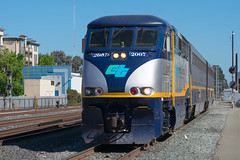Amtrak California at Emeryville (cadet_wilson) Tags: emd f59phi amtrak cdtx california calp capitol corridor locomotive train trains engine 710 emeryville morning summer nikon d3400 camera heritage uprr bnsf up amtk san joaquin station westbound west south stop hot photography color
