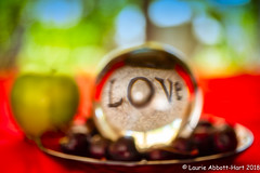 20180715   Message of Love  16203-Edit (Laurie2123) Tags: laurieabbottturner laurieabbotthartphotography laurieturner laurieturnerphotography laurie2123 nikond800e nikonsb910 odc odc2018 ourdailychallenge artsy cherries fruit green home love macro micro nikkor60mm orb red upclose vibrant apple