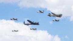 BBMF Trenchard Plus Formation (Tony Howsham) Tags: dakota spitfire hurricane lancaster formation trenchard flight memorial britain battle battleofbritain bbmf fairford raf airshow tattoo air international royal 100400mkii 80d eos canon