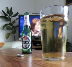 1479 Becks Blue shandy (Andy - Busy Bob) Tags: bbb becksblue bottle cap ccc coffeetable ggg glass shandy sss table ttt tv