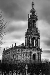 Somber Sanctuary (Ronny Darko) Tags: somber dark black white schwarz weiss dunkel duester church cathedral kathedrale sanctissimae trinitatis hofkirche gothic dresden deutschland germany kirche building architecture