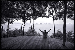 Freedom (frankmartinroth) Tags: landscape wide sky outdoor thailand nature ocean water asia islands trees kohyaonoi sony a7r3 15mm f45 forest bw monochrome people silhouette freedom platform