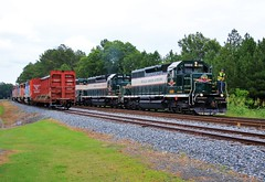 Born in Canada, Finished in Dixie (BravoDelta1999) Tags: aberdeencarolinaandwestern acw acwr railroad norfolksouthern ns railway southern sou oakboro northcarolina emd sd60f 5520 5558 5521 sd403 6909 6918 6919 job 100 manifest train