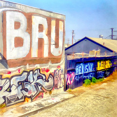< Simply BRU > (Wandering Dom) Tags: expression impression graffiti walls railroadtrack travelling moving train humans being nothingness people earth multiverse la letters text industrial area outdoor world roam wandering society