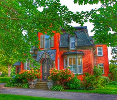 Brockville Ontario - Canada - John and Mary Gill House - Heritage (Onasill ~ Bill Badzo) Tags: 19250mm brockville ontario on ont canada 181 king street st e east hwy 2 kinghwy waterfront lakeontario heritage historic historical house mansion victorian second empire architecture style mansard roof fish scale shingles flowers portico door shutters tower gill co mfg renovated broome onasill canon eos rebel sl1 18250mm sigma macro lens telephoto garden tree building kings mary grenvillecounty leedscounty