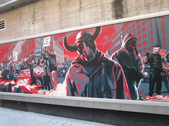 The First Purge Movie Poster Art 35th St 8th Ave NYC 5021 (Brechtbug) Tags: the first purge posters billboard horror film prequel standee billboards movie poster art rioting masked protesters mayhem 36th street near 8th ave amc theatre new york city 07072018 nyc 2018 graffiti looking arts mural subway entrance mask costume costumed post apocalyptic political satire politics violence violent humor riot riots gang mob hunting people down hunt version most dangerous game battle royal crime criminals terror terrorists terrorist