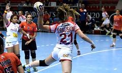 Anne Erauskin, en un lanzamiento durante el Mundial de Balonmano de Hungría.