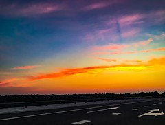 on the road to ... (Inga P.) Tags: beautifulclouds sunsetcolors summer evening highway road colors sunset