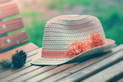 Afternoon (victoriameyo) Tags: hat smileonsaturday hatsandco classic sunny day park bench rest outdoors pink flowers straw