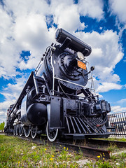 _5248830 (Hyperfocalist) Tags: canada alberta spring rocky mountains jasper preserved steam locomotive old train rail powerful