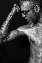 Matty (Daisy Sparkles new) Tags: male bodybuilding monochrome portrait person man strong muscles strength