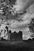 Leamaneh Castle (efgepe) Tags: 2018 irland lightroom mai pentaxk1 county clare countyclare bw sw schwarzweiss schwarzundweiss blackwhite silverefexpro nik schloss castle clouds leamaneh leamanehcastle