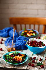 Grilled halumi  cheese salad with berries. (Zoryanchik) Tags: salad grilled halumi berries healthy meal food fish dinner dish plate diet lettuce dressing delicious bowl fresh tasty nutrition lunch cuisine appetizer green summer cheese gathering cherry mulberry honey