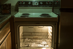 (Curtis Gregory Perry) Tags: oven stove motel lincoln city oregon night long exposure light green rack dirty old nikon d810 foil tin aluminum sketchy questionable uncertainty dangerous peligroso culinary cook cooing cooking mouth gape gaping maw chomp chew vintage
