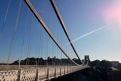 Bridge flare (John (Thank you for >2 million views)) Tags: 7dwf landscapephotography sunrise cliftonsuspensionbridge avongorge clifton earlymorning southwestengland bristol