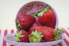 summer tea (Vanessa wuz Here) Tags: 90mm macro 7dwf strawberry teacup stilllife vanessasbackyard red pink summer white copyrightvanessabartosek