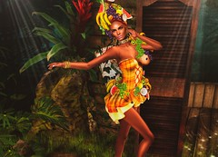 Tropical! (MISS SL ♛ Argentina 2018 - Onix Noir) Tags: irrisistible shop sl secondlife second life swank event tropical summer sea holiday sun fruit headpiece mesh dress clothes women sexy madras black woman maitreya belleza slink hourglass beauty design new fantasy