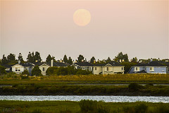 There's no place like home ... (milton sun) Tags: sweethome moonrise fullmoon dusk seascape bay ngc bayarea shore seaside coast california landscape outdoor sky water rock meadows tree grass sunset architecture building house