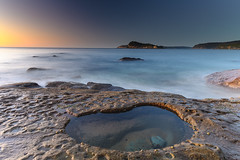 Seascape and Rock Pool (Merrillie) Tags: daybreak sunrise nature dawn centralcoast morning northpearlbeach sea newsouthwales rocks pearlbeach nsw sky rocky ocean earlymorning landscape australia coastal waterscape outdoors seascape waves coast water seaside